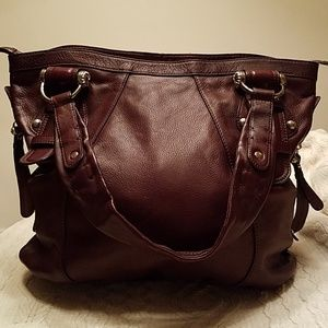 b. makowsky brown leather tote